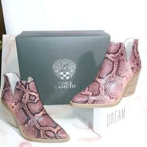 New!! Vince Camuto | Leather Snakeskin Ankle Boots
